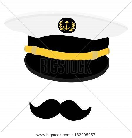 Vector illustration navy cap with golden anchor and laurel wreath. Navy captain hat with black moustache