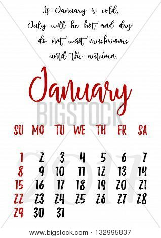 Calendar design grid in hand written style with russian proverbs adages and saying and dates of winter month January 2017. Vector illustration