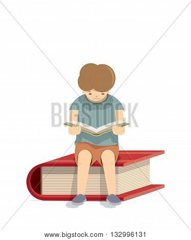 Boy reading a book on a red book White background illustration vector.