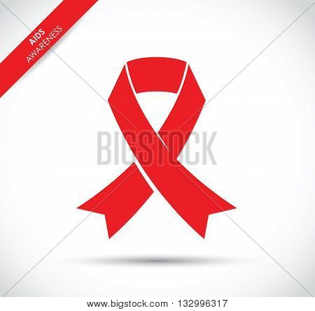 a red aids awareness ribbon flat icon