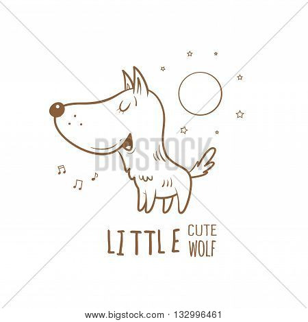 Card with cute cartoon wolf. Little funny animal. Children's illustration. Vector contour image. Wolf howling at the moon. Transparent background.