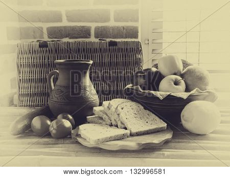 natural eco-products fruits vegetables vintage wooden table rural composition rural lifestyle black and white photo retro style