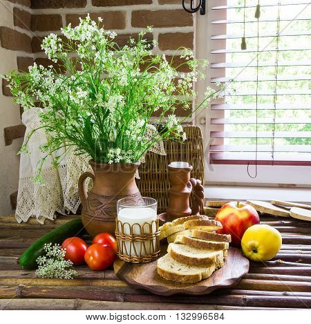 natural eco-products fruits vegetables vintage wooden table rural composition rural lifestyle