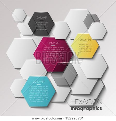 Vector infographic scheme with colorful hexagons, polygonal infographics, hexagon background