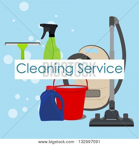Vector illustration poster background with cleaning tools supplies for cleaning service. Cleaning service logo