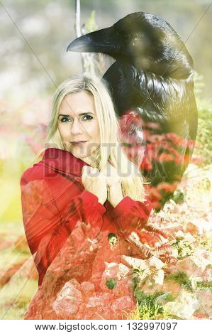 double exposure of blond woman and black raven