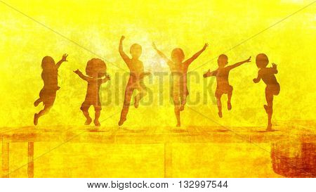 Summer Playtime Outdoors with Children Playing Outside 3D Illustration Render
