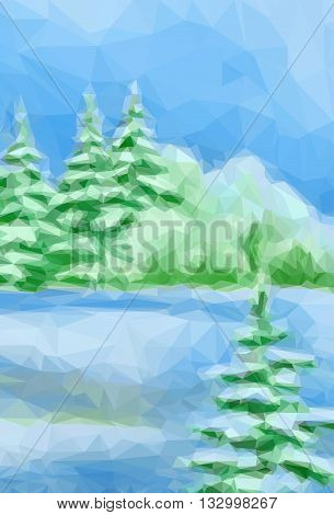 Winter Christmas Forest Landscape with Fir Trees, Bushes and a Blue Sky. Low Poly Style