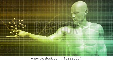 Scientist Holding a Molecule as a Science Concept 3D Illustration Render
