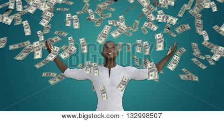 Black Man Catching Money Falling From the Sky in US Dollars 3D Illustration Render