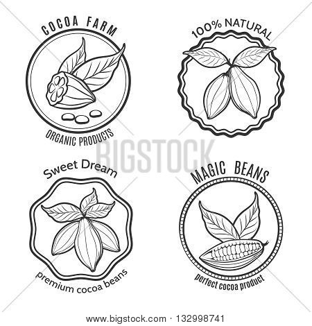 Hand drawn cacao logo set and cacao chocolate labels, Vector illustration