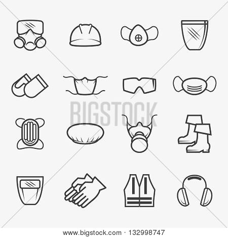 Occupational safety and health icons. Job safety signs. Vector illustration