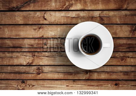 Detail Of Great Italian Espresso Coffee In A White Cup On Wood Table