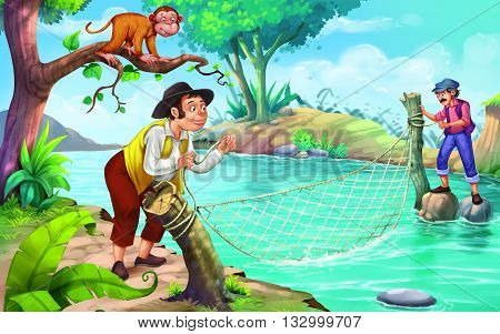 The Monkey & The Fisher Man story for kids
