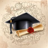 Black graduation cap and diploma on doodle hand drawn background with different school objects. Back poster
