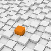 picture of unicity  - Orange Different Cube of white cubes background - JPG