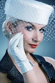 pic of beautiful young woman  - Beautiful young woman in white hat with net veil - JPG