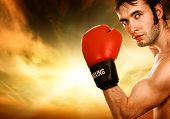 stock photo of boxing gloves  - Handsome young boxer - JPG