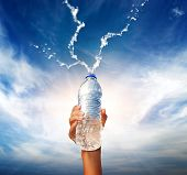 picture of bottle water  - Human hand holding a bottle of water - JPG
