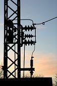 picture of smart grid  - electric plant in denmark wires at sunset - JPG