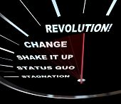 picture of stagnation  - Speedometer with needle racing through the words Revolution Change Shake it Up Status Quo and Stagnation - JPG