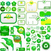 Set of eco friendly, natural and organic labels. Vector great collection.
