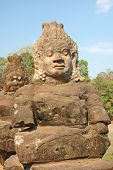 image of asura  - the entrance of angkor thom on the bridge with asura statue - JPG