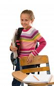 Pretty School Girl With Books And Backpack poster