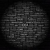 IDEA. Word collage on black background. Illustration with different association terms.