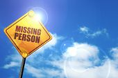 missing person, 3D rendering, glowing yellow traffic sign  poster