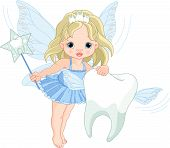 stock photo of tooth-fairy  - Illustration of a cute little Tooth Fairy flying with Tooth - JPG