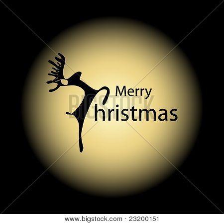 Merry Christmas deer on the moon