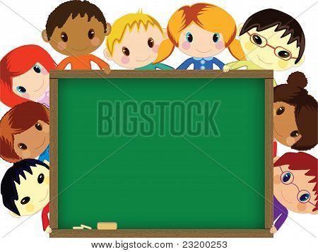 Kids behind chalkboard vector