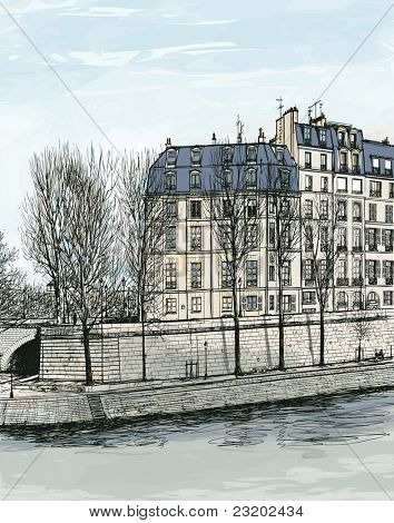 Vector illustration of Ile Saint Louis in Paris