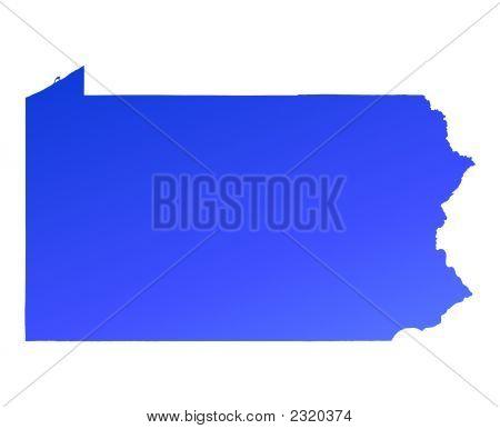 Blue Gradient Pennsylvania Map, Usa