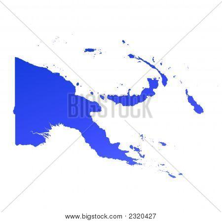 Blue Gradient Papua New Guinea Map