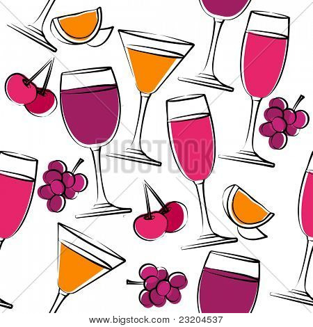 Seamless pattern with simple glasses of wine