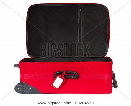 Open Red Suitcase With Blank Identification Tag Over White.