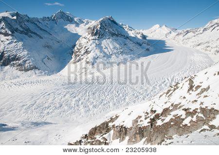 Great Aletsch Glacier Jungfrau region,Part of Swiss Alps at Switzerland.