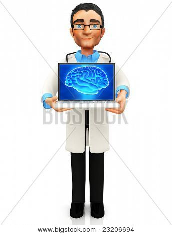 3D doctor holding a laptop displaying a brain - isolated over a white background