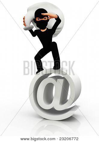 3D thief standing on an  sign - isolated