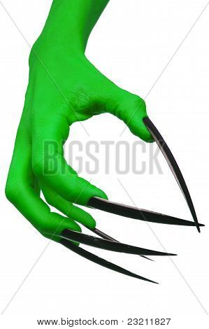 The evil claw of a green witch.