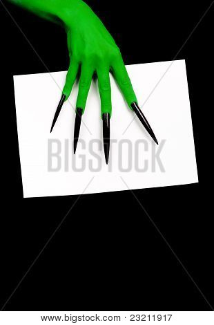 The scary green hand.