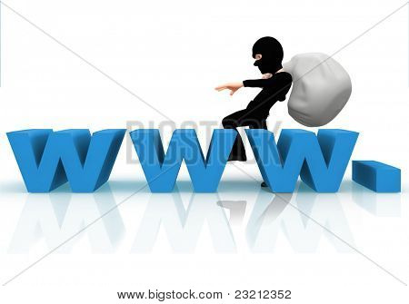 3D online thief with the letters www ? isolated