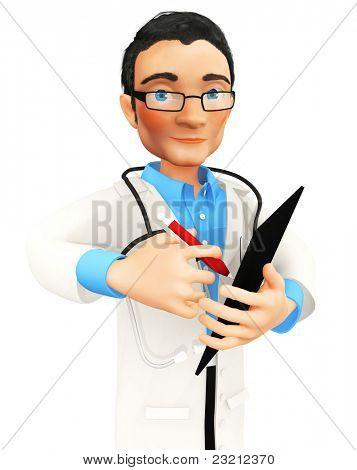 3D doctor tomando notas en un portapapeles - aislado sobre un fondo blanco