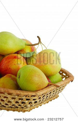 Cropped Closeup Of Fresh Fruits In Interwoven Basket