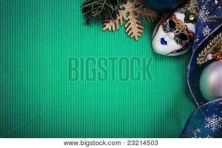 Green Christmas Card With Carnival Mask