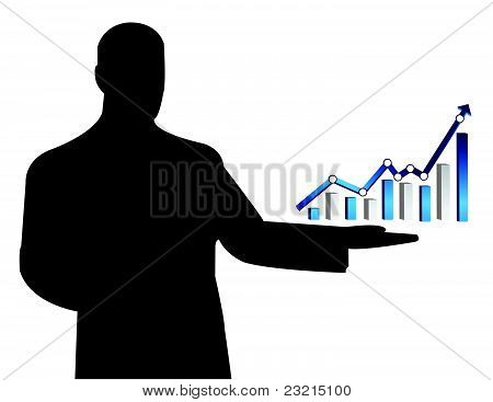 Business man and a graph showing growth of business
