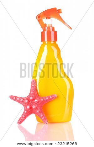 sunblock in bottle and starfish isolated on white