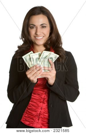 Beautiful Businesswoman Holding Money